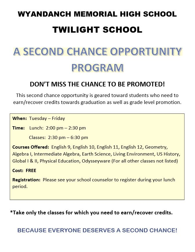 Twilight School A Second Chance Opportunity Program