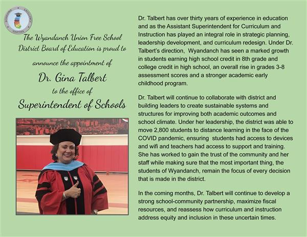 Dr. Talbert, Superintendent Announcement