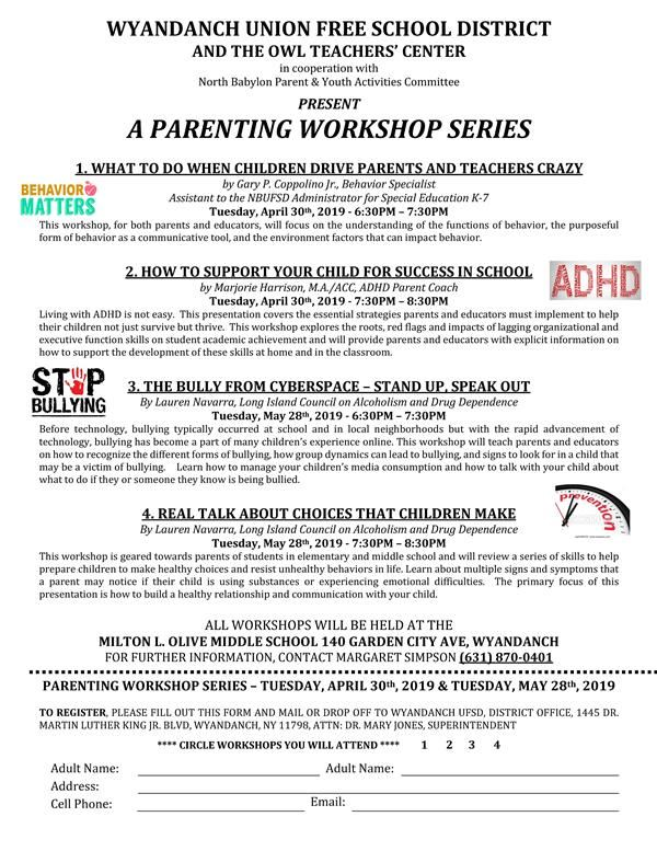 WUFSD Parenting Workshop Series